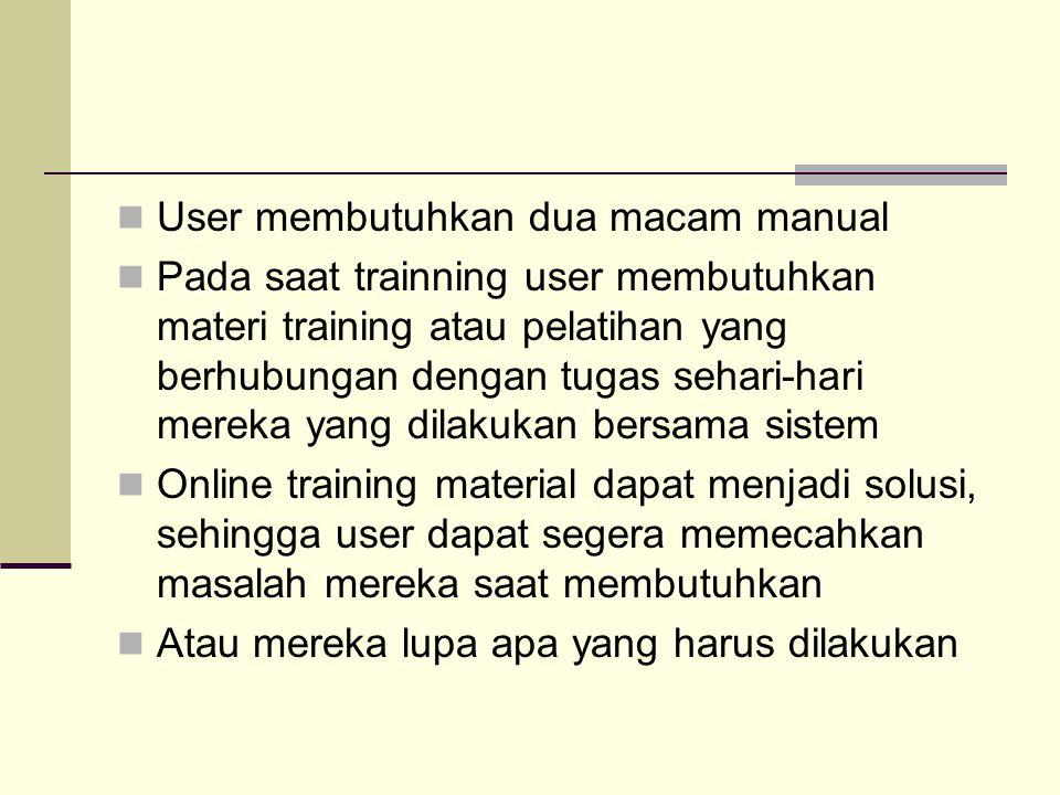 User membutuhkan dua macam manual