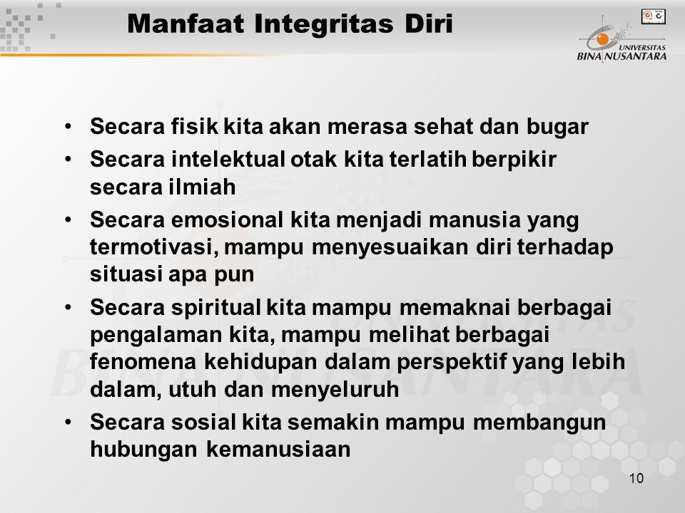Manfaat Integritas Diri