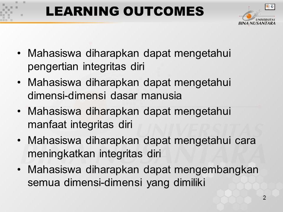 LEARNING OUTCOMES Mahasiswa diharapkan dapat mengetahui pengertian integritas diri.