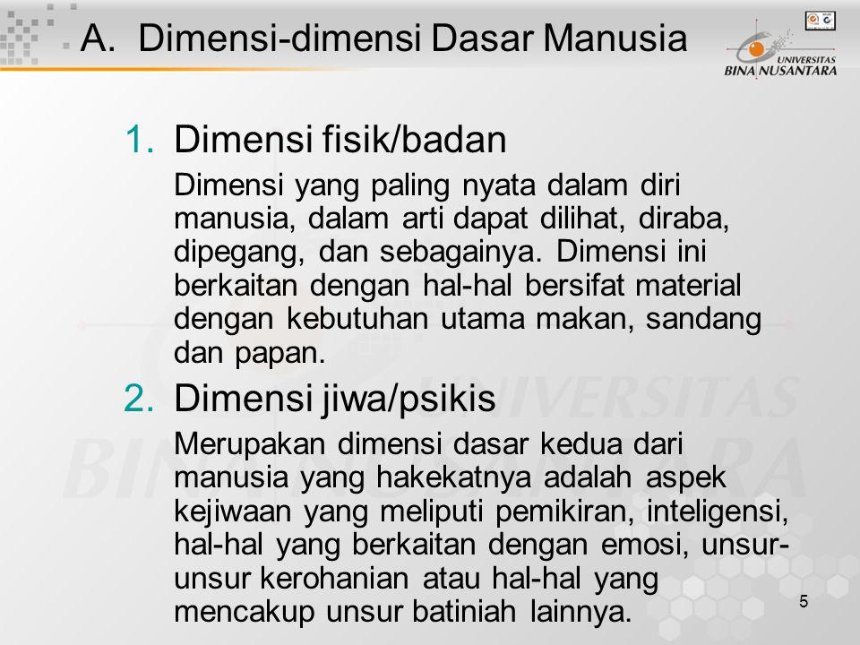 Dimensi-dimensi Dasar Manusia Dimensi fisik/badan