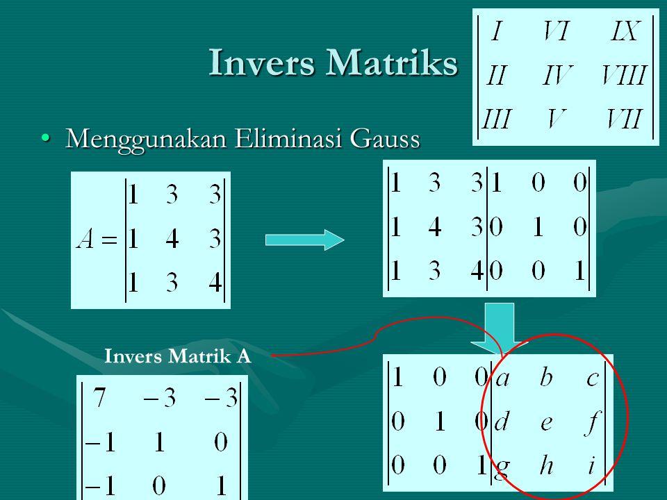 Invers Matriks Menggunakan Eliminasi Gauss Invers Matrik A