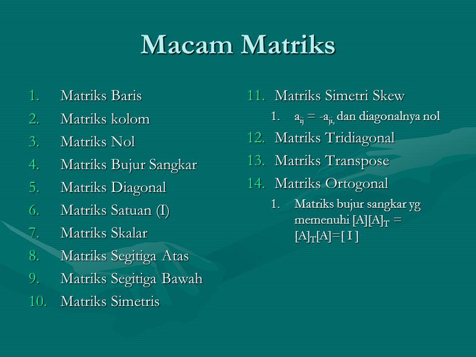 Macam Matriks Matriks Baris Matriks kolom Matriks Nol