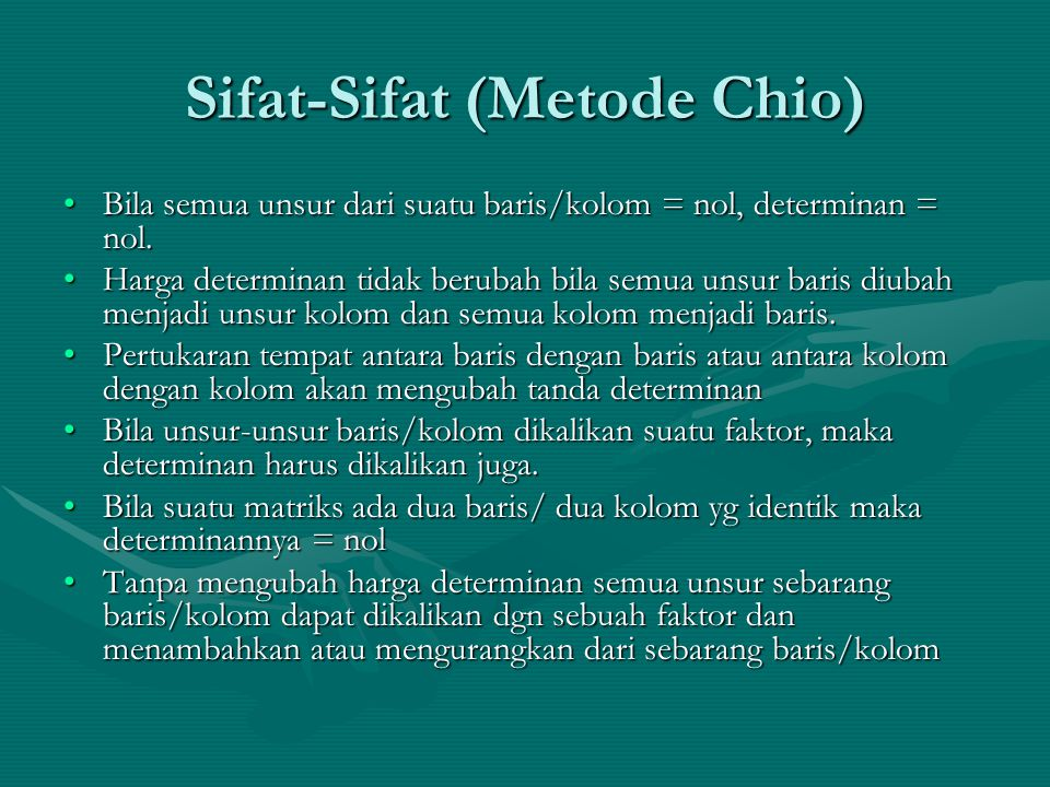 Sifat-Sifat (Metode Chio)