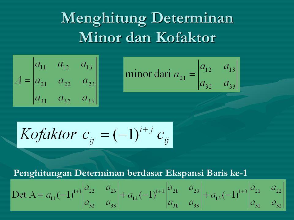 Menghitung Determinan Minor dan Kofaktor