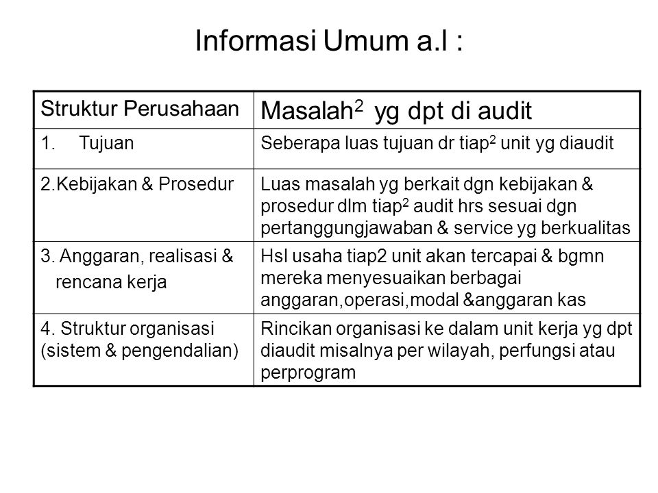 Informasi Umum a.l : Masalah2 yg dpt di audit Struktur Perusahaan