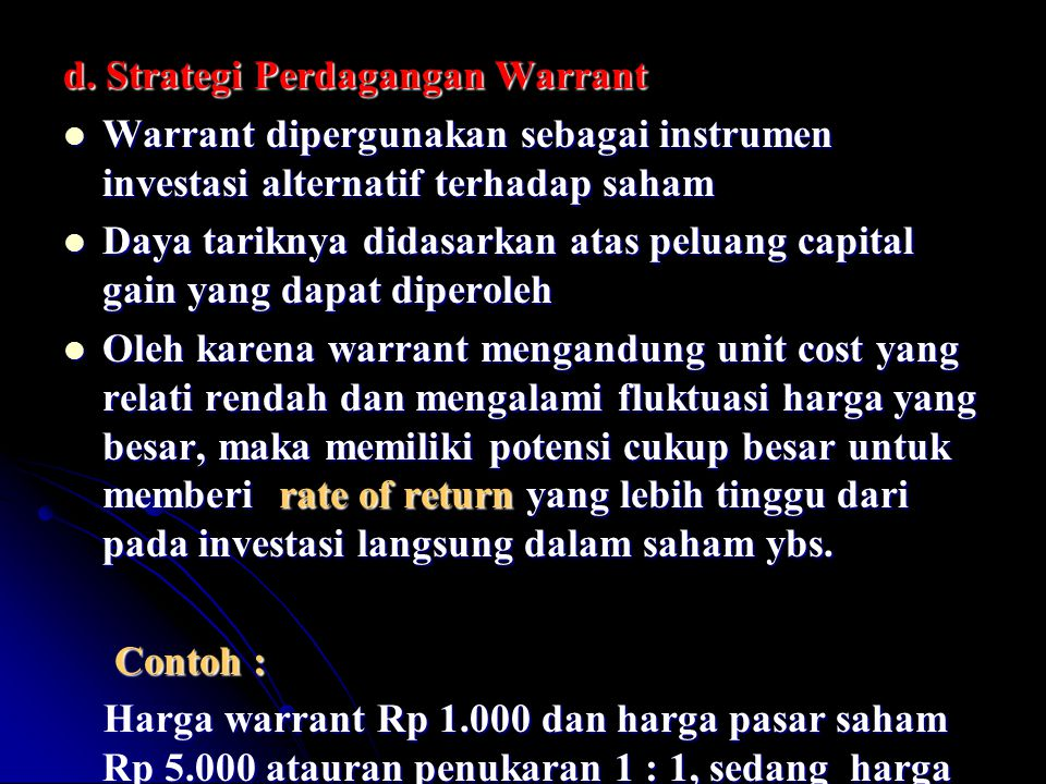 d. Strategi Perdagangan Warrant