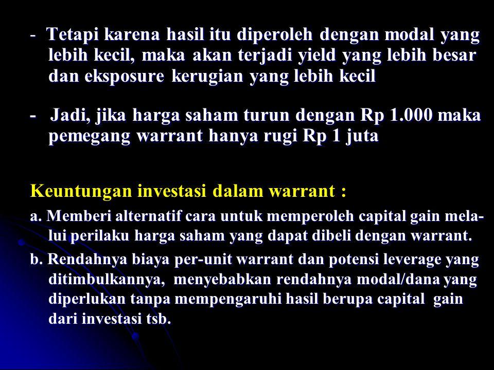 Keuntungan investasi dalam warrant :