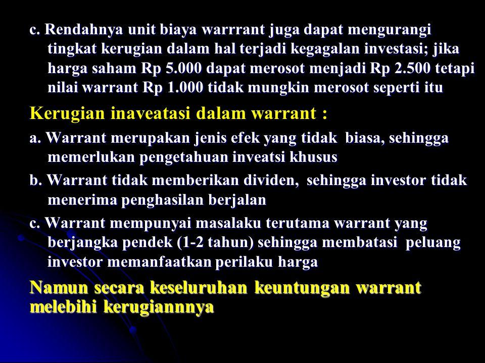 Kerugian inaveatasi dalam warrant :