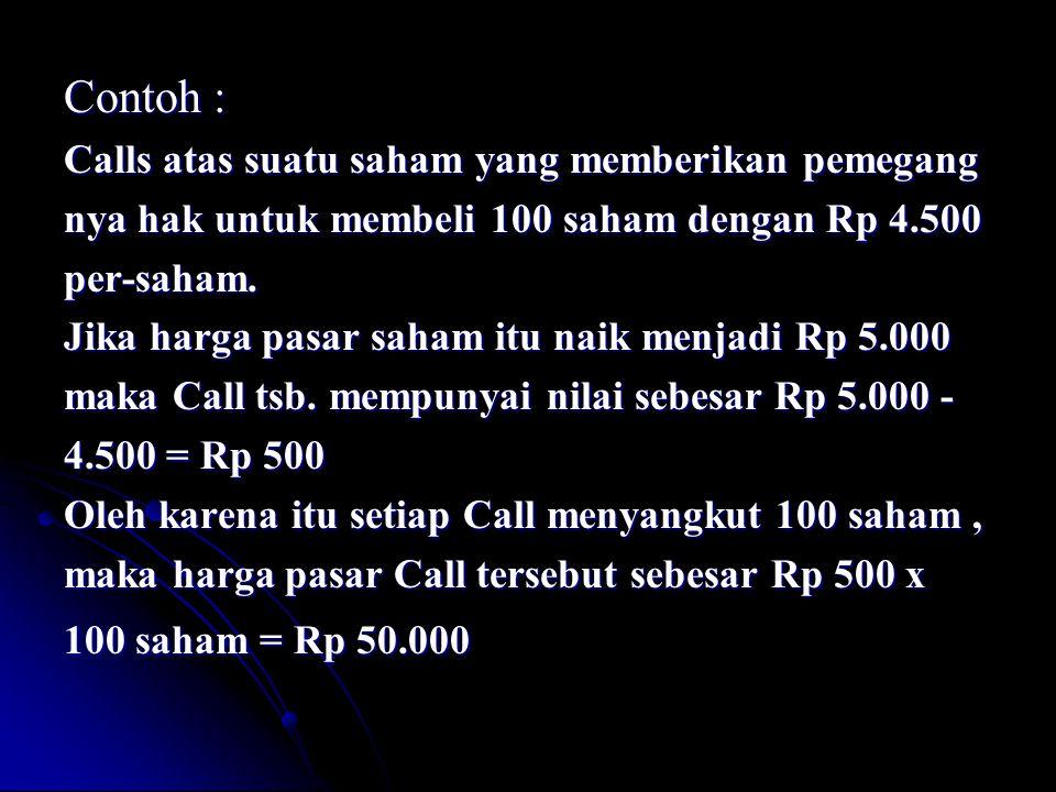 Contoh : Calls atas suatu saham yang memberikan pemegang