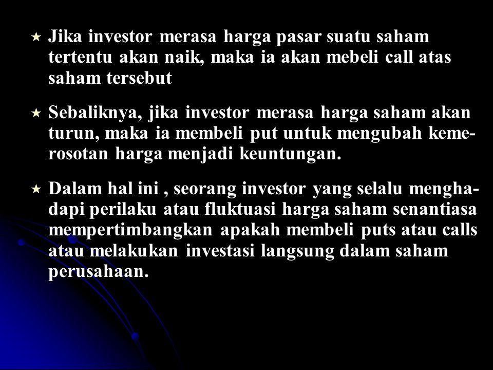 Jika investor merasa harga pasar suatu saham tertentu akan naik, maka ia akan mebeli call atas saham tersebut
