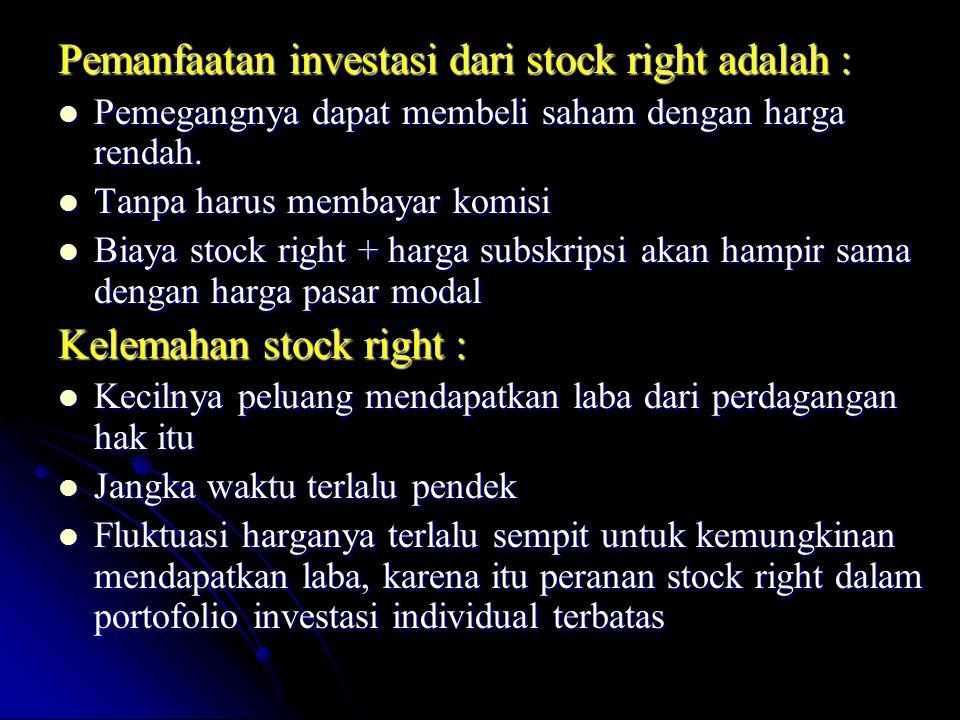 Pemanfaatan investasi dari stock right adalah :