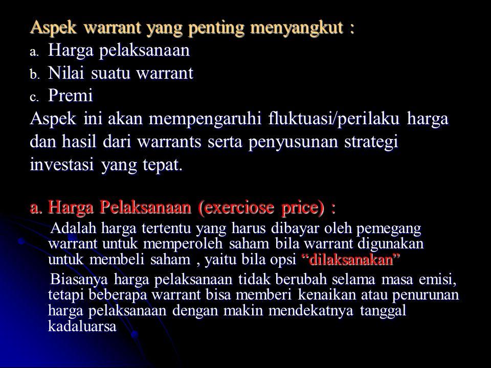 Aspek warrant yang penting menyangkut : Harga pelaksanaan