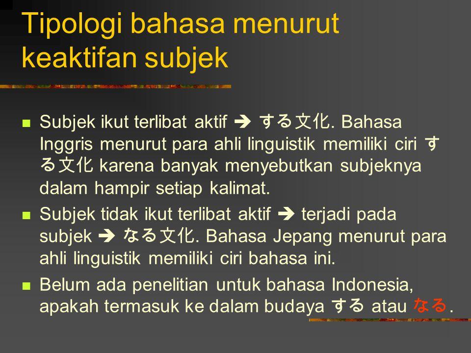 Tipologi bahasa menurut keaktifan subjek