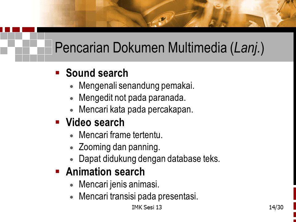 Pencarian Dokumen Multimedia (Lanj.)