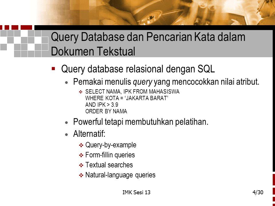 Query Database dan Pencarian Kata dalam Dokumen Tekstual