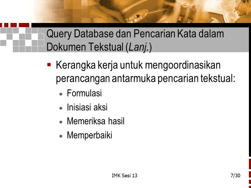 Query Database dan Pencarian Kata dalam Dokumen Tekstual (Lanj.)