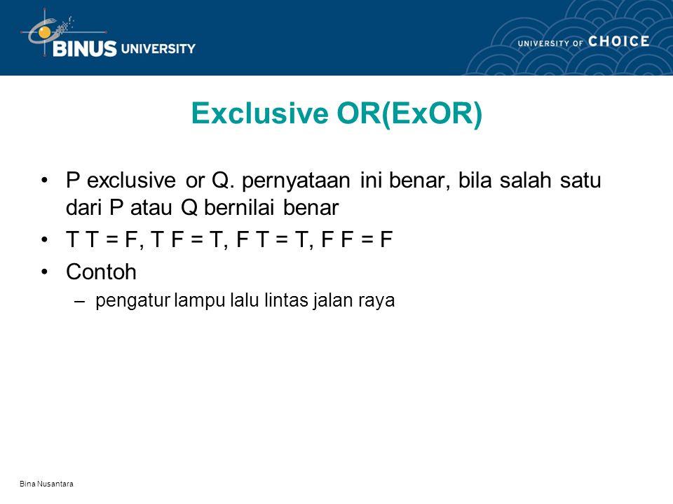 Exclusive OR(ExOR) P exclusive or Q. pernyataan ini benar, bila salah satu dari P atau Q bernilai benar.