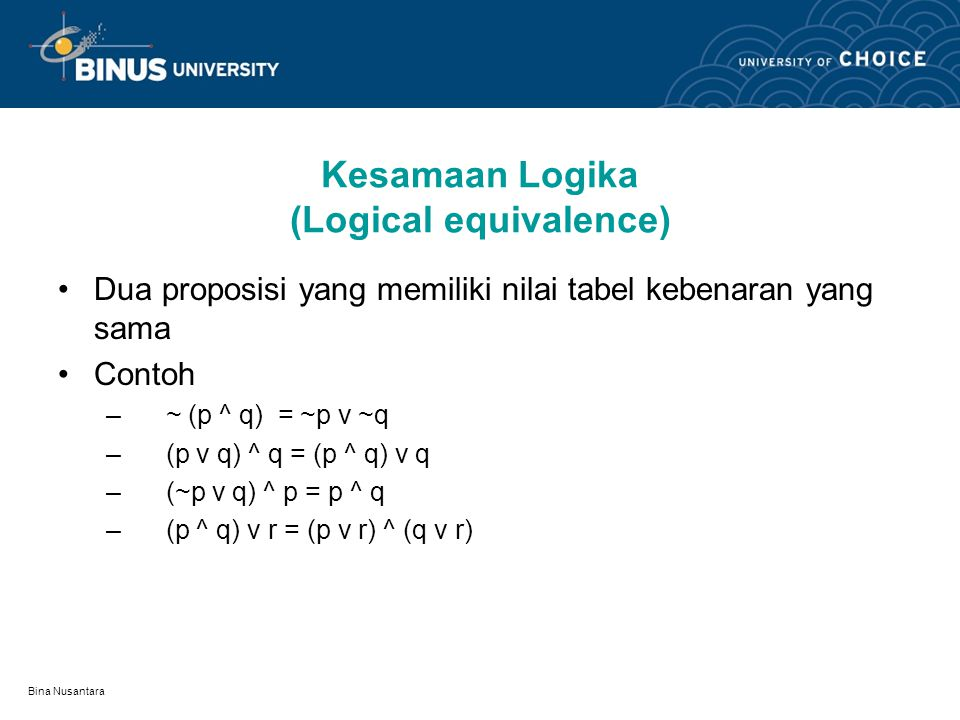 Kesamaan Logika (Logical equivalence)