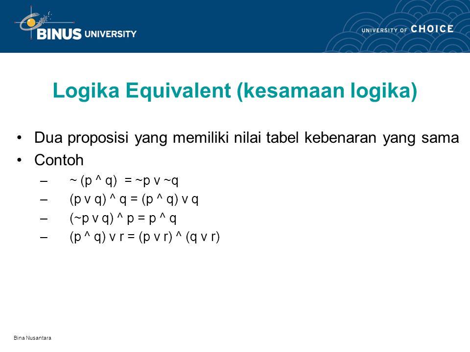 Logika Equivalent (kesamaan logika)