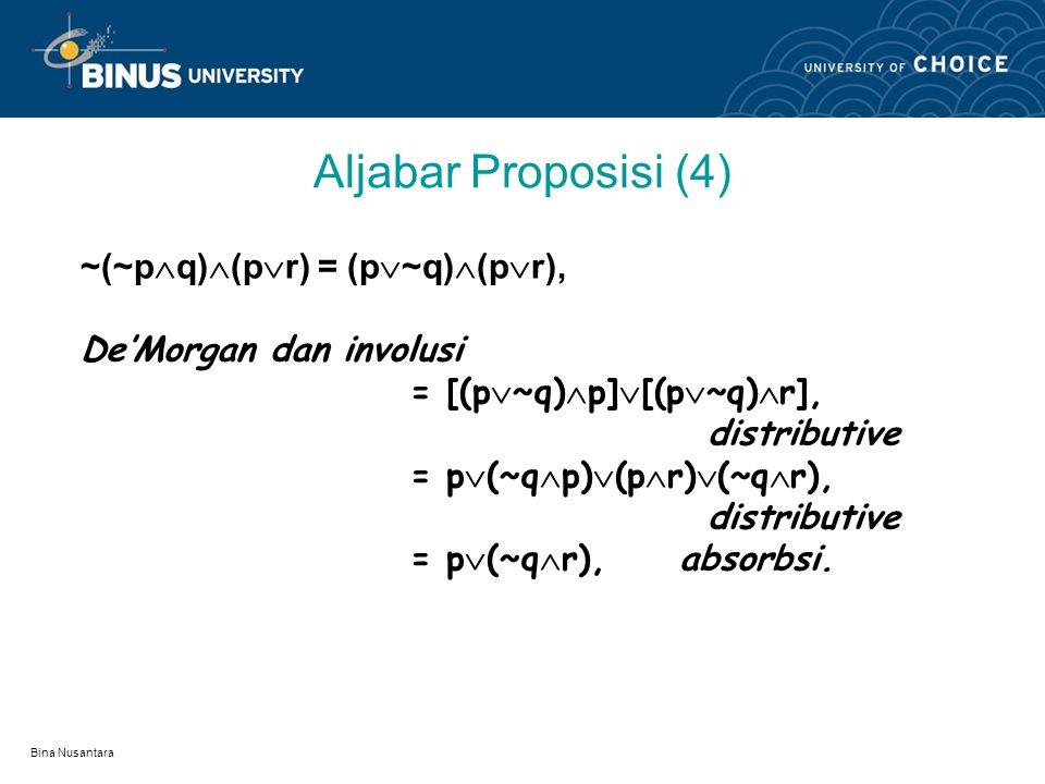 Aljabar Proposisi (4) ~(~pq)(pr) = (p~q)(pr),