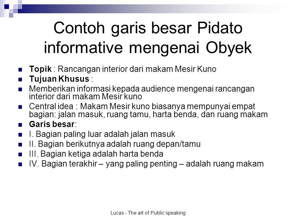 Contoh garis besar Pidato informative mengenai Obyek