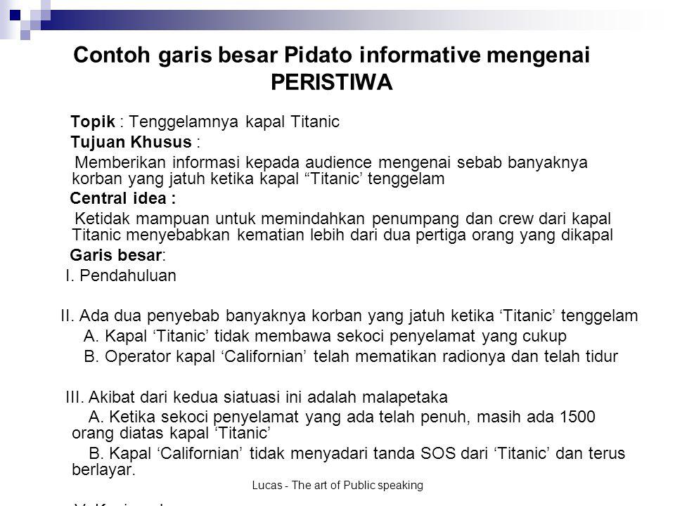 Contoh garis besar Pidato informative mengenai PERISTIWA