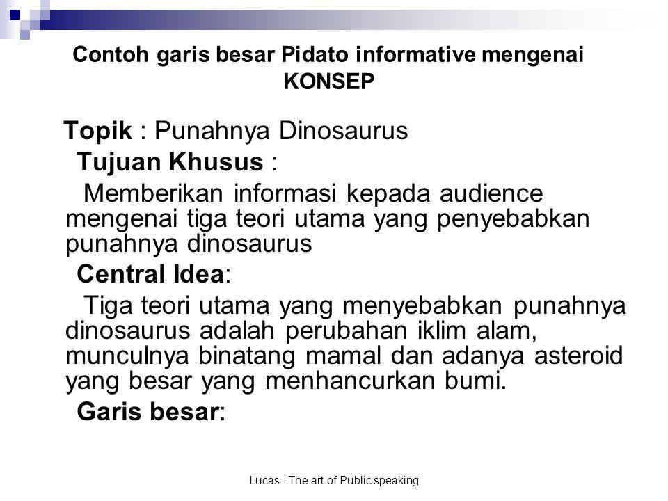 Contoh garis besar Pidato informative mengenai KONSEP