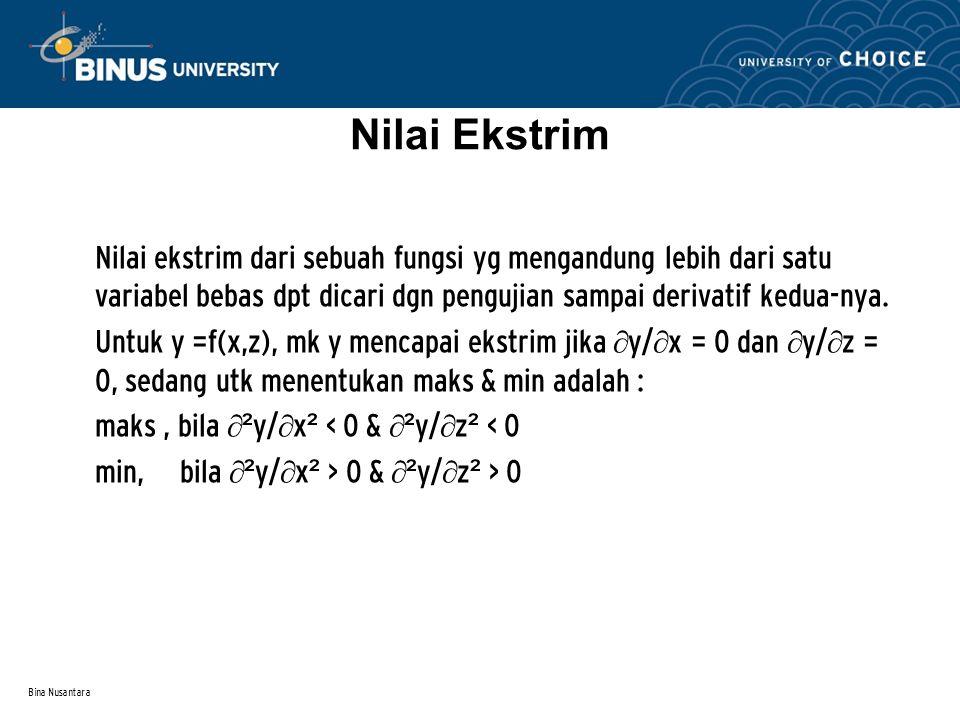 Nilai Ekstrim Nilai ekstrim dari sebuah fungsi yg mengandung lebih dari satu variabel bebas dpt dicari dgn pengujian sampai derivatif kedua-nya.