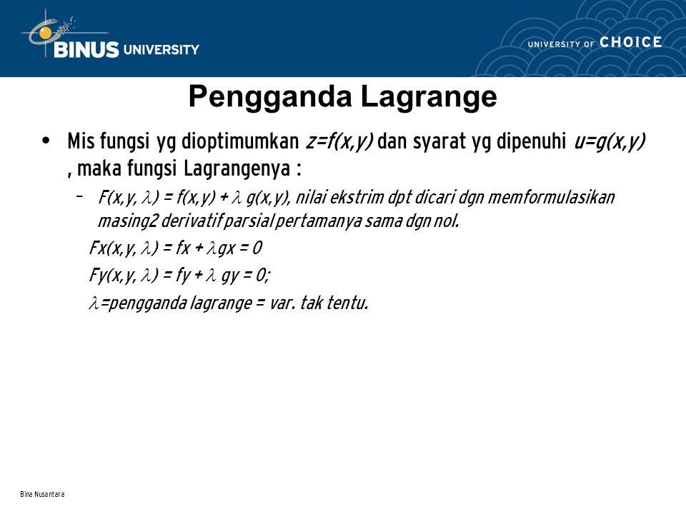 Pengganda Lagrange Mis fungsi yg dioptimumkan z=f(x,y) dan syarat yg dipenuhi u=g(x,y) , maka fungsi Lagrangenya :