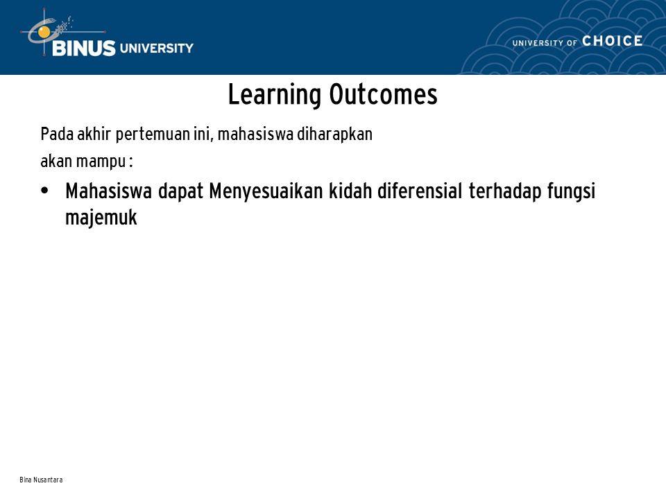 Learning Outcomes Pada akhir pertemuan ini, mahasiswa diharapkan. akan mampu :