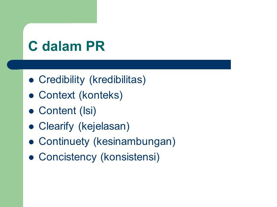C dalam PR Credibility (kredibilitas) Context (konteks) Content (Isi)