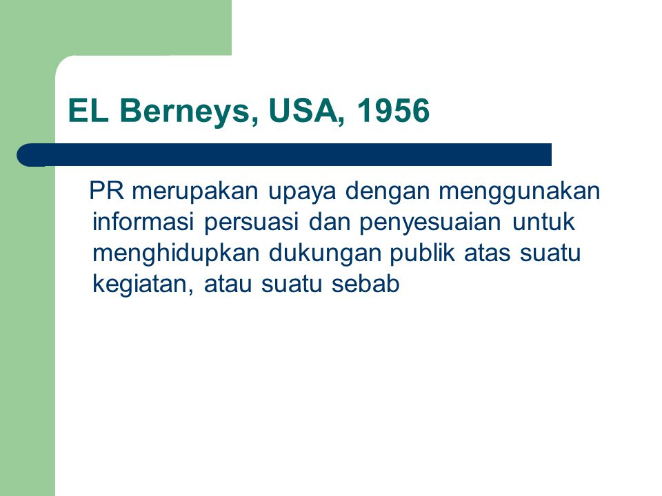 EL Berneys, USA, 1956