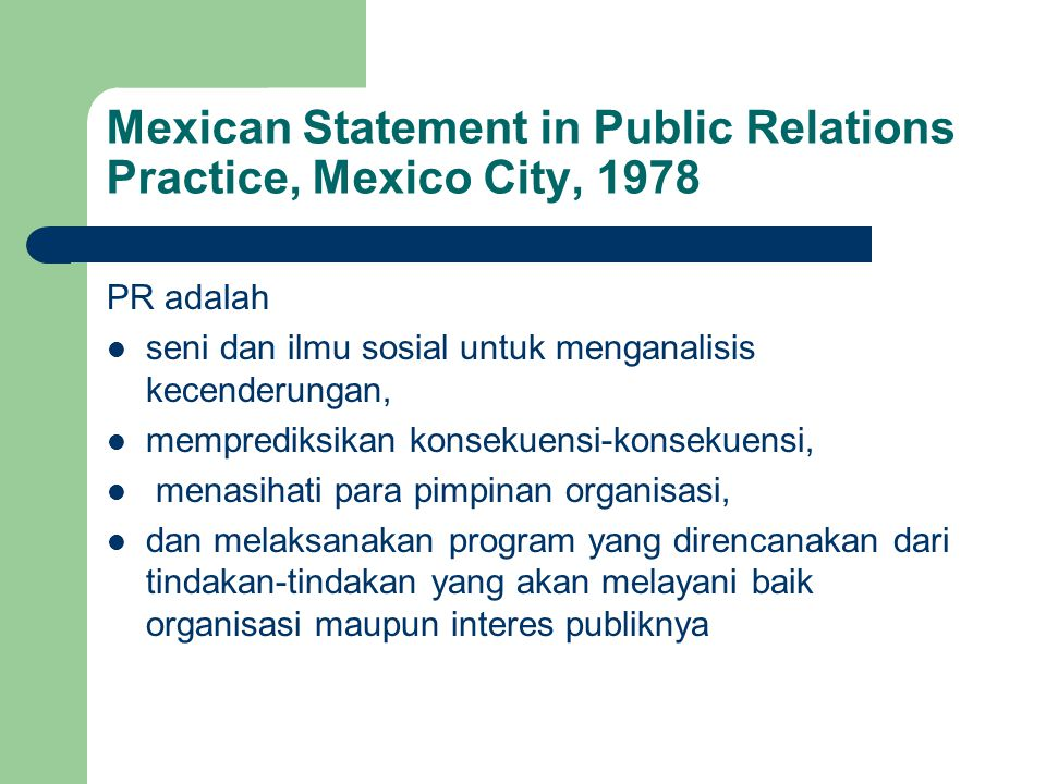 Mexican Statement in Public Relations Practice, Mexico City, 1978