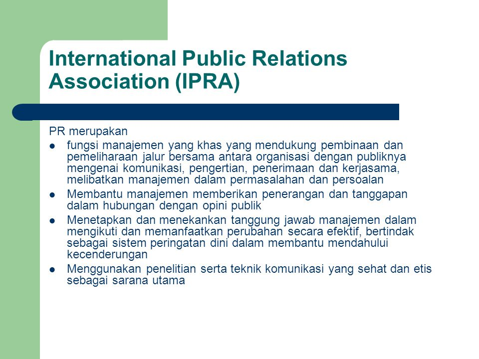 International Public Relations Association (IPRA)