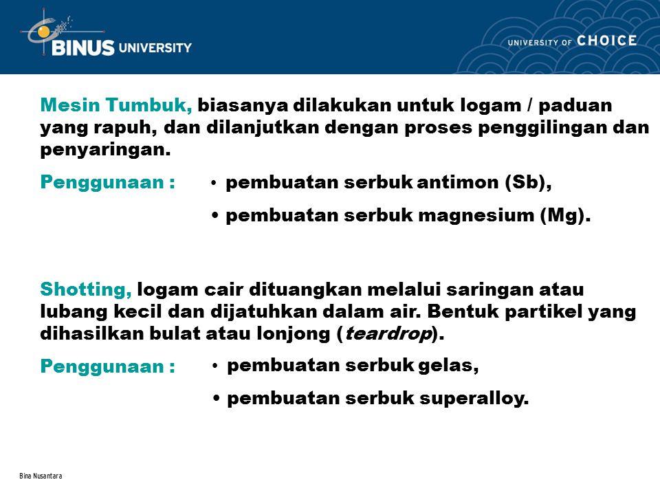 pembuatan serbuk antimon (Sb), pembuatan serbuk magnesium (Mg).