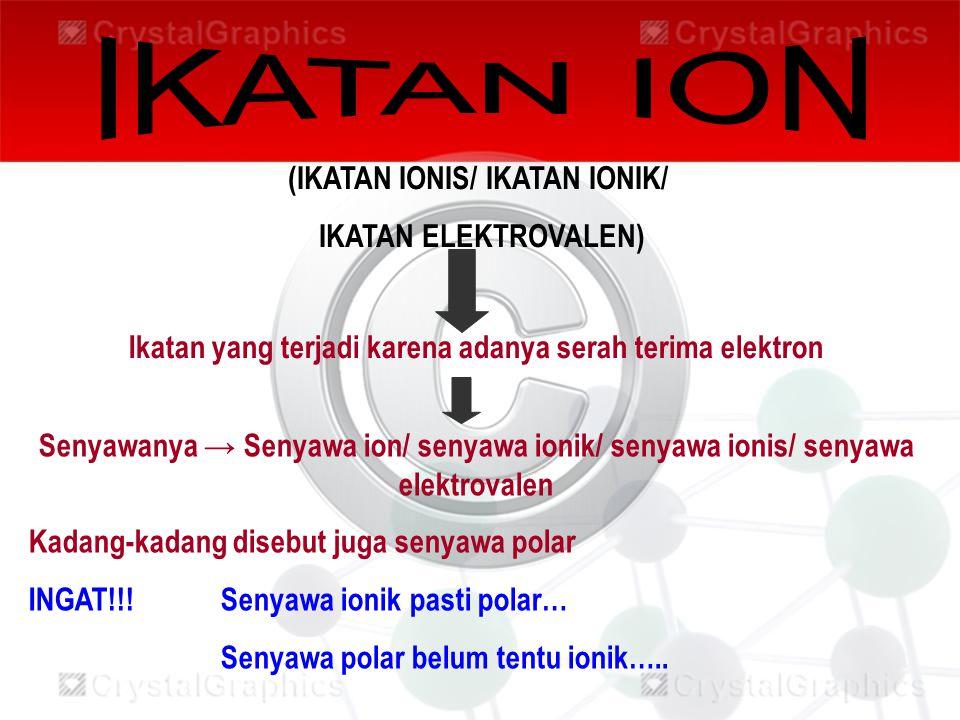 IKATAN ION (IKATAN IONIS/ IKATAN IONIK/ IKATAN ELEKTROVALEN)
