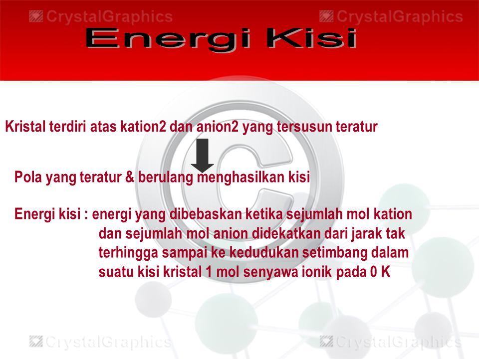 Energi Kisi Kristal terdiri atas kation2 dan anion2 yang tersusun teratur. Pola yang teratur & berulang menghasilkan kisi.