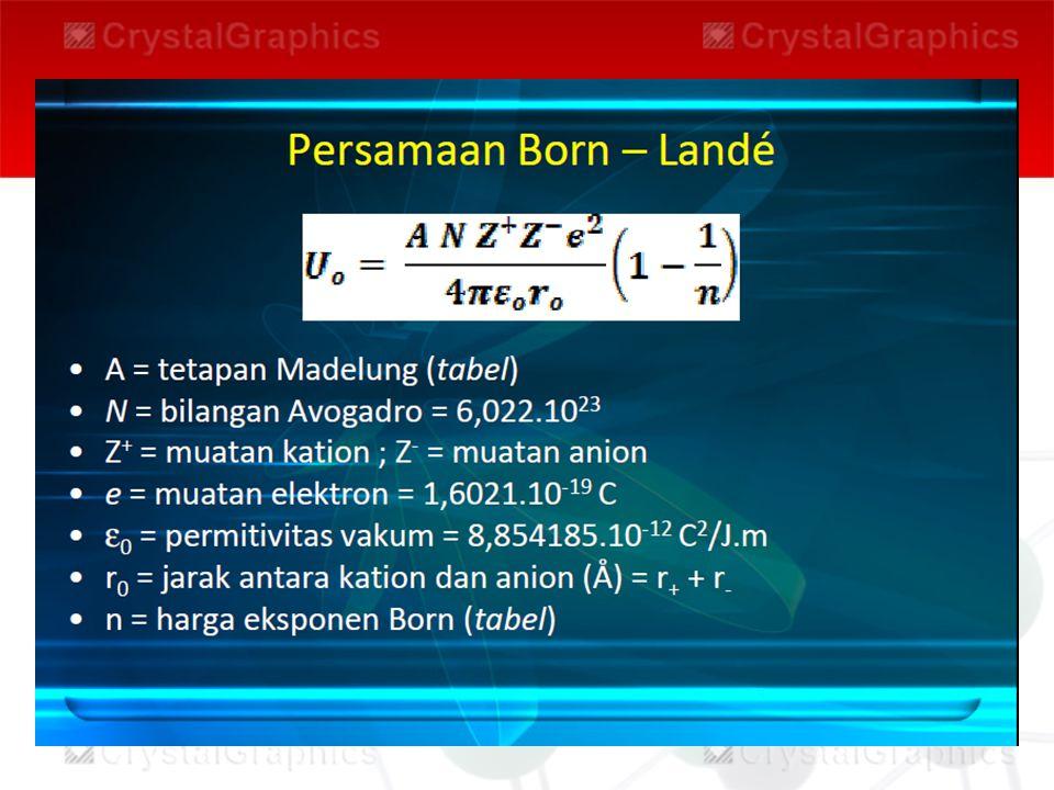Konstanta Madelung adalah ukuran tambahan energi antaraksi yang dihasilkan kisi ion tiga dimensi, misalnya pertambahan energi Coulumb sebesar 75% bila pasangan ion (Na+)(Cl-) berpindah menjadi NaCl kristalin. Nilai energi kisi secara tak langsung didapat dari data termokimia dengan menggunakan siklus Born-Haber. dibawah ini adalah tabel konstanta Madelung.