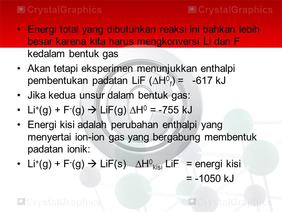 Energi total yang dibutuhkan reaksi ini bahkan lebih besar karena kita harus mengkonversi Li dan F kedalam bentuk gas