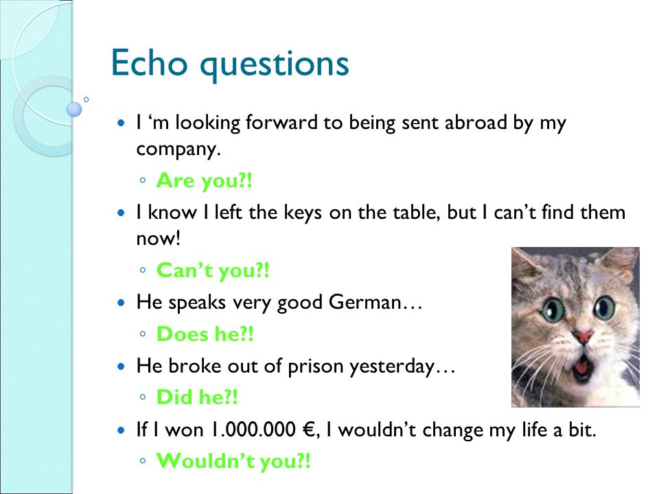 Echo questions I 'm looking forward to being sent abroad by my company. Are you ! I know I left the keys on the table, but I can't find them now!