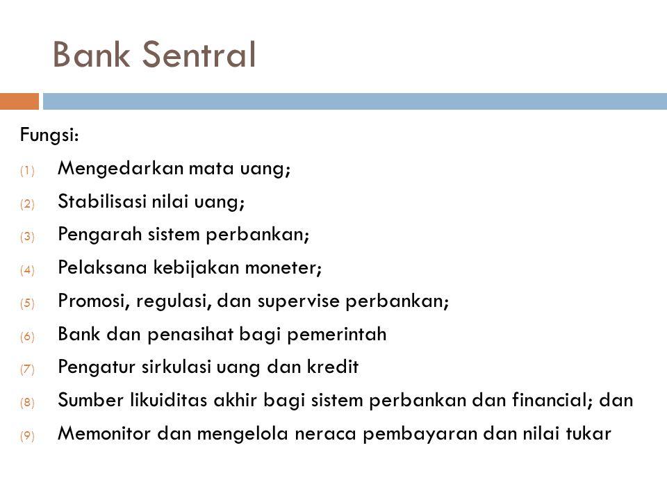 Bank Sentral Fungsi: Mengedarkan mata uang; Stabilisasi nilai uang;