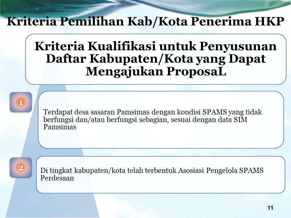 Kriteria Pemilihan Kab/Kota Penerima HKP