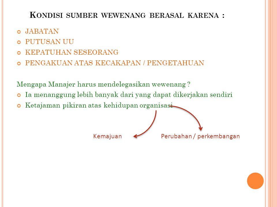 Kondisi sumber wewenang berasal karena :