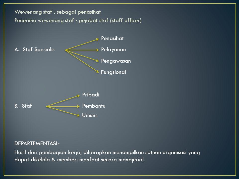 Wewenang staf : sebagai penasihat Penerima wewenang staf : pejabat staf (staff officer)