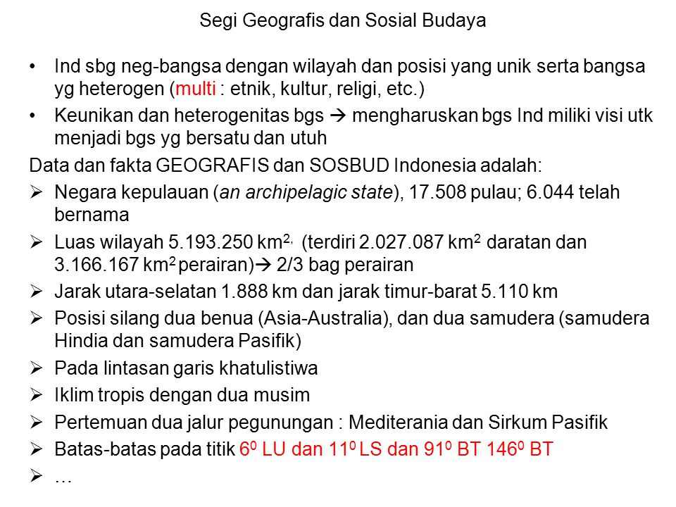 Segi Geografis dan Sosial Budaya
