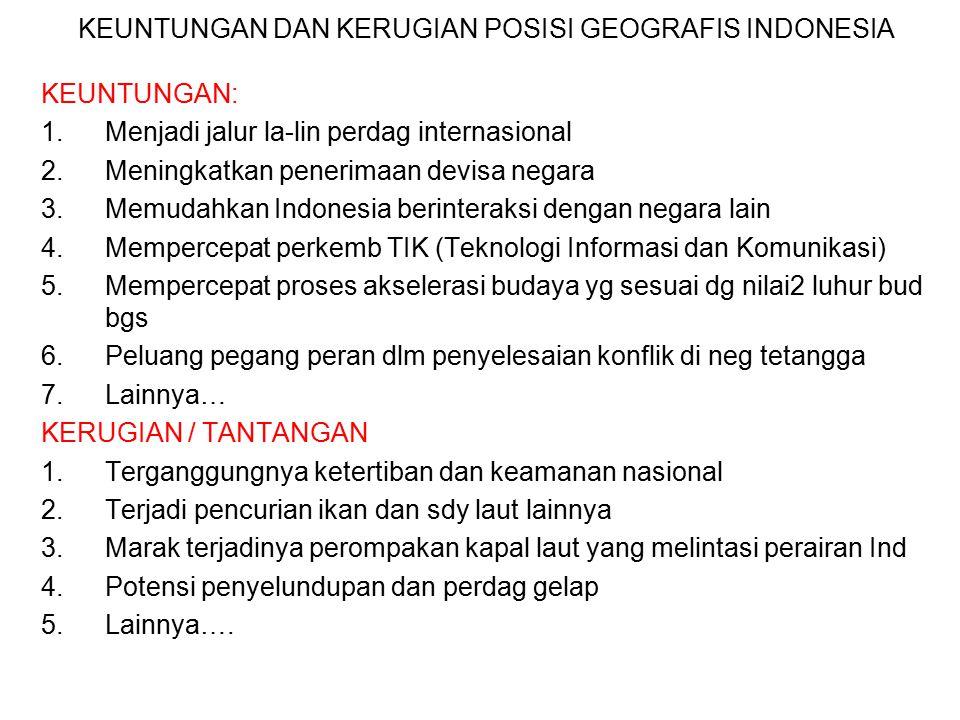 KEUNTUNGAN DAN KERUGIAN POSISI GEOGRAFIS INDONESIA