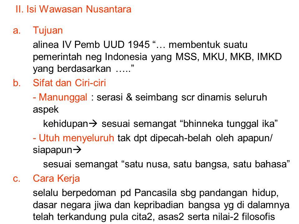 II. Isi Wawasan Nusantara