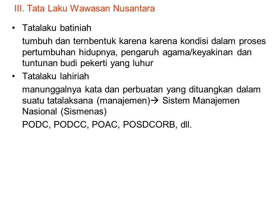 III. Tata Laku Wawasan Nusantara