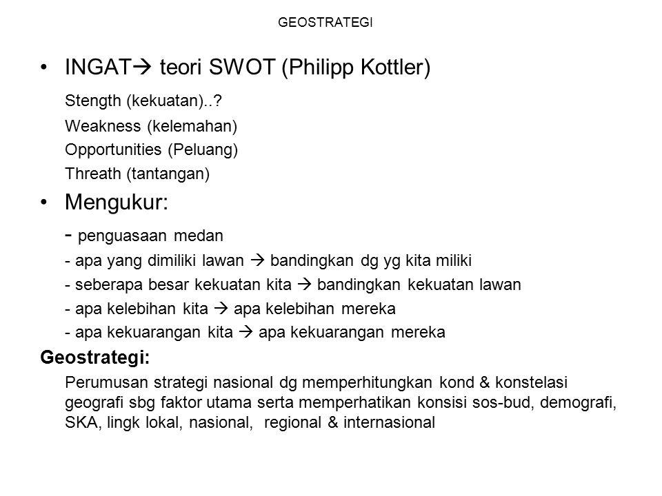 INGAT teori SWOT (Philipp Kottler) Stength (kekuatan)..