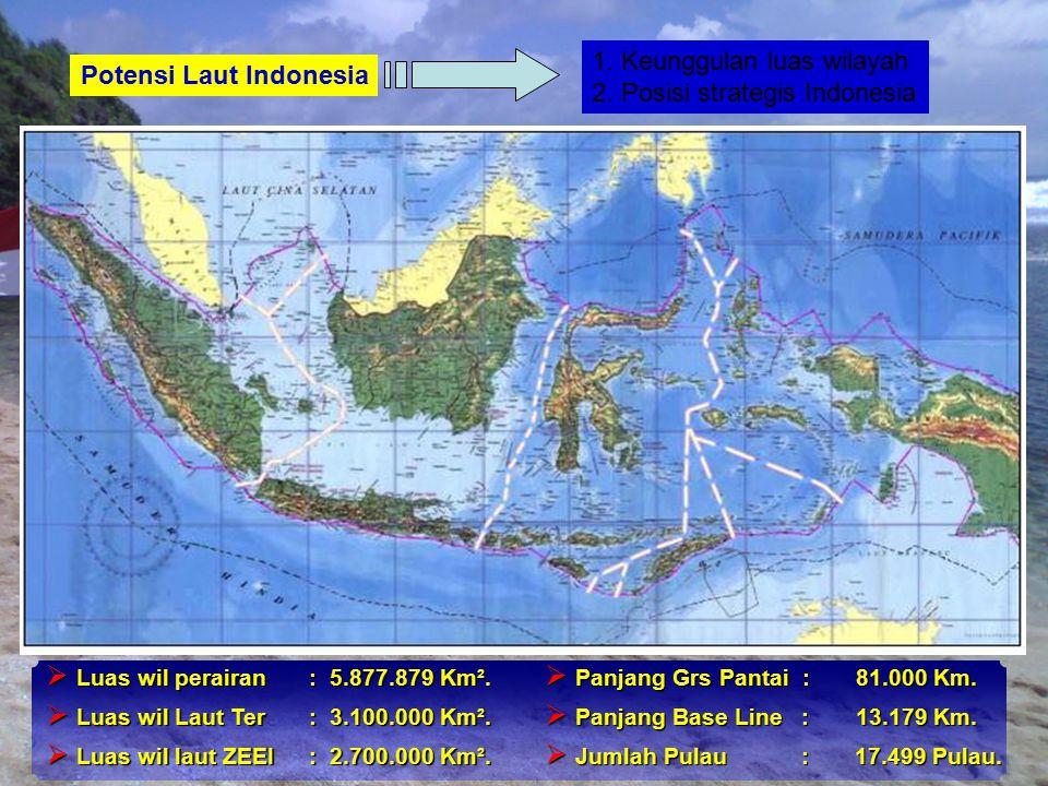 1. Keunggulan luas wilayah 2. Posisi strategis Indonesia